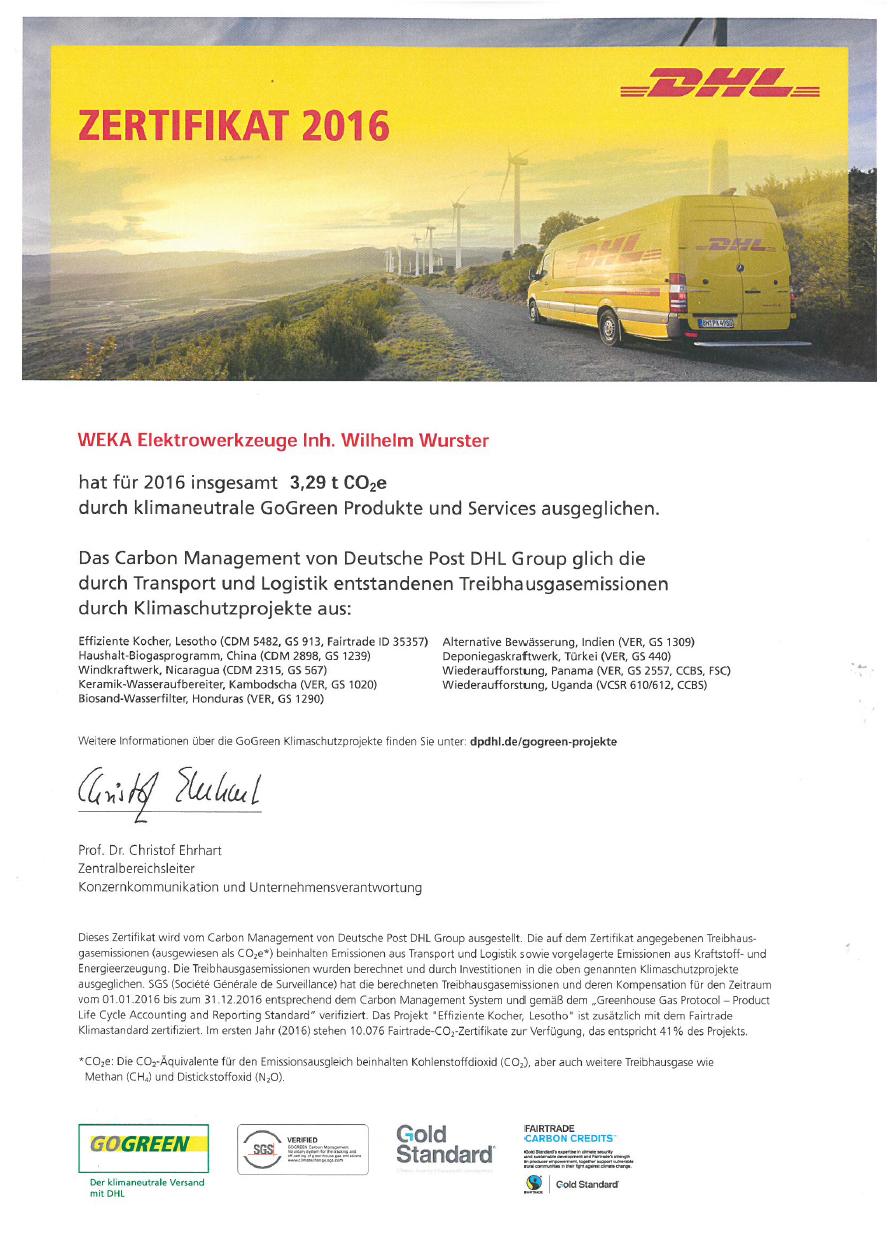 DHL Zertifikat GoGreen